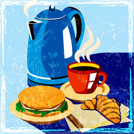 performed: stylized vector composition on the topic of breakfast, snack bars, cafes. performed in the style of an old poster