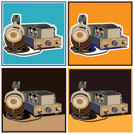 retro lamp: stylized vector composition on the theme of speakers, amplifiers, receivers, headphones, etc. retro lamp amplifier and headphones