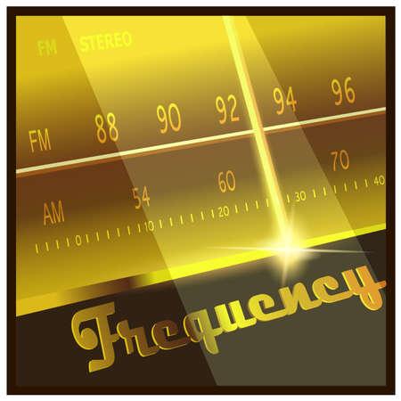 Gestileerde vector illustratie op het thema radio, elektronica, FM, AM-frequenties, radio-uitzendingen, enz. Stock Illustratie
