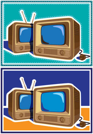 televisions: two variants of stylized vector illustration on the theme of old school electronics, televisions, telecommunications and broadcasting
