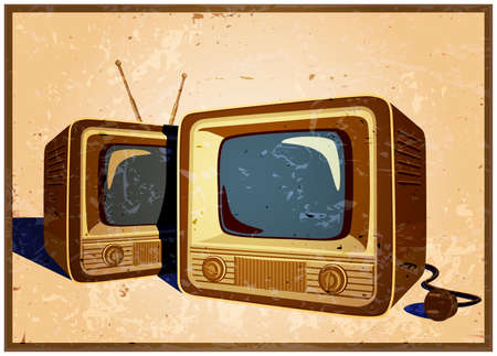 televisions: stylized vector illustration of an old poster on the theme of old school electronics, televisions, telecommunications and broadcasting Illustration