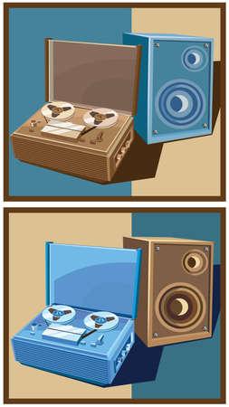 Gestileerde vector illustratie op het thema van retro elektronica. oude reel tape recorder met luidspreker. in twee kleuren