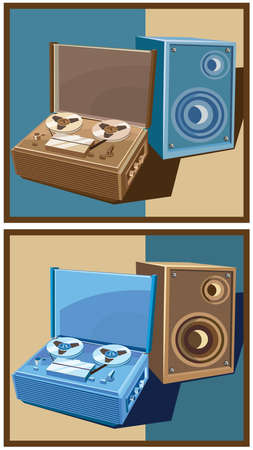 Stylized vector illustration on the theme of retro electronics. old reel tape recorder with speaker.  in two color options