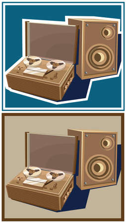 tape recorder: Stylized vector illustration on the theme of retro electronics. old reel tape recorder with speaker.