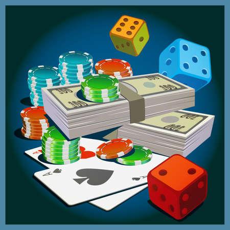 money wealth: Stylized vector illustration on the theme of gambling, money, wealth, fortune. Illustration