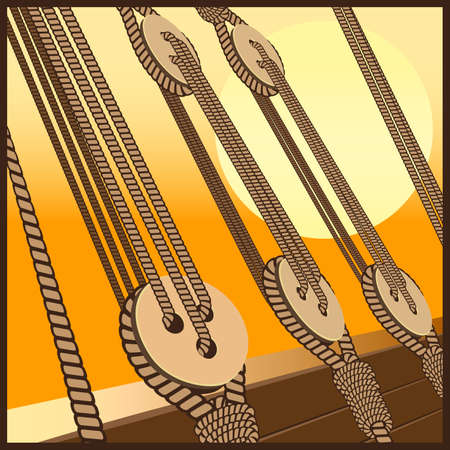 setting sun: Stylized vector illustration on the marine theme of shipbuilding, sailing vessels, etc. Deadeye and ropes against the backdrop of the setting sun