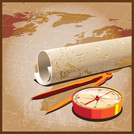 longitude: Stylized vector illustration on the theme of travel, adventure, explorers, treasure, etc. map, compass, navigational equipment