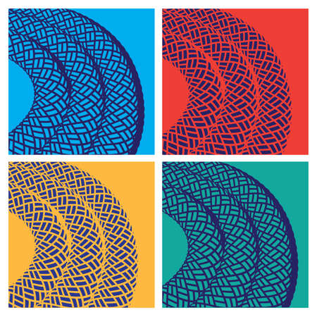 fixed line: stylized vector illustration in pop art style. rope in different colors