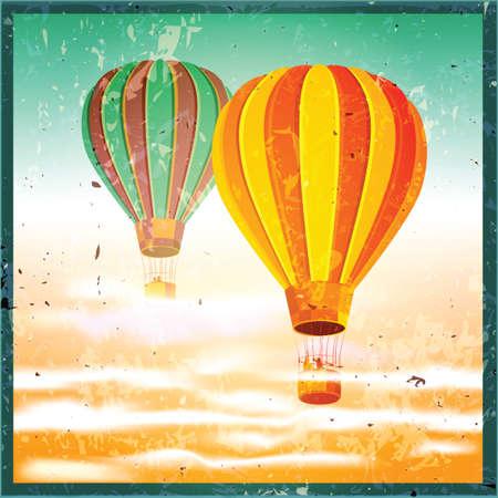 aeronautics: Stylized vector illustration on the theme of aeronautics, air balloons above the clouds