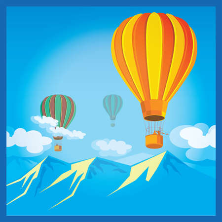 sunlit: Stylized vector illustration on the theme of aeronautics. Air Balloons over the sunlit mountains