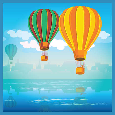 drifting: stylized vector illustration. the old town and air balloons over water