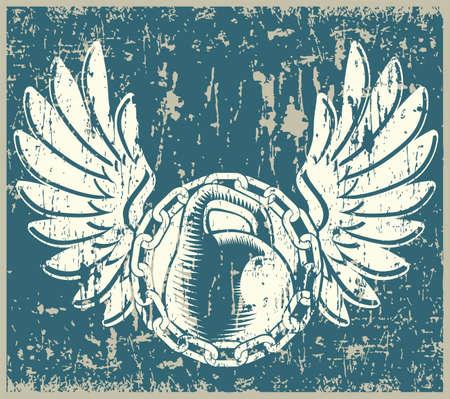 levantamiento de pesas: Ilustración vectorial estilizada sobre el tema del deporte hierro gente fuerte, levantamiento de pesas de la vieja escuela. grunge, vintage.