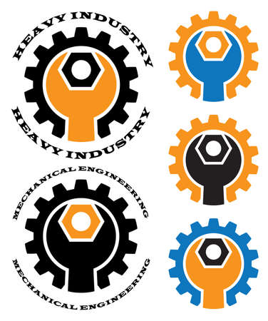 mechanical engineering: Stylized vector illustration on the theme of engineering and heavy industry