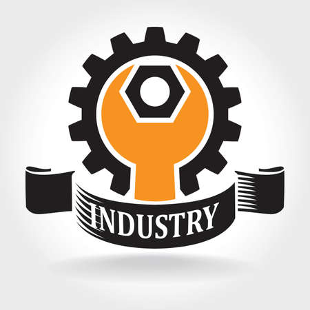 Stylized vector illustration on the theme of engineering and heavy industry