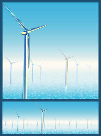 needed: Stylized vector illustration on the theme of alternative and ecological energy. seamless horizontally if needed Illustration