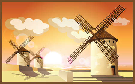 clouds scape: windmills on the seafront of the sunset rays of the sun Illustration