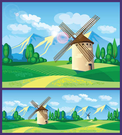 provence: Stylized vector illustration on the theme of European landscapes. windmills, fields of Provence, the Alps, etc. seamless horizontally, if necessary.