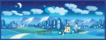provence: stylized vector illustration on the theme of the village, farming, beautiful landscape of fields and mountains. seamless horizontally if needed
