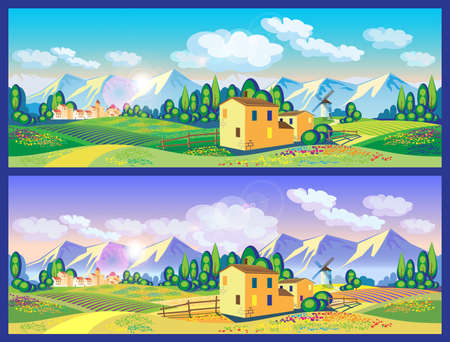 needed: stylized vector illustration on the theme of the village, farming, beautiful landscape of fields and mountains. seamless horizontally if needed
