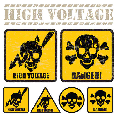 set of signs warning of the danger of high voltage