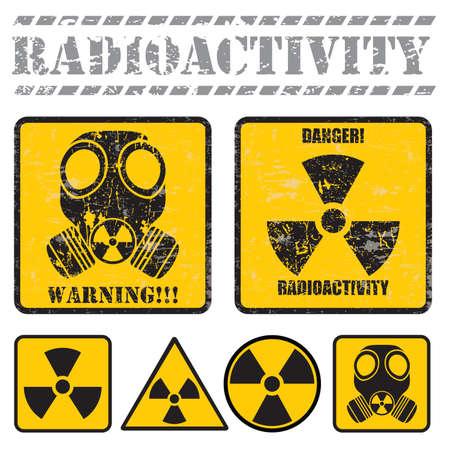 radiactividad: conjunto de signos de advertencia de radiactividad Vectores