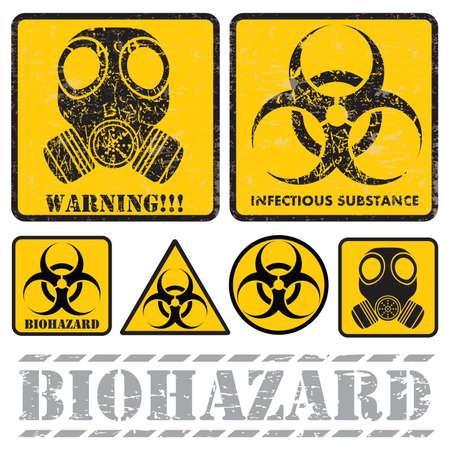 biological hazards: set of signs warning of biological hazards