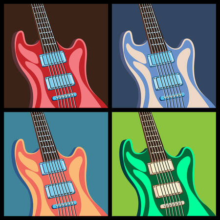 art lessons: Stylized vector illustration on a musical theme. guitars in different colors