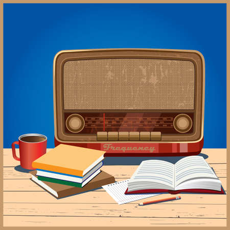 stylized vector illustration in the retro theme. old radio, coffee and books