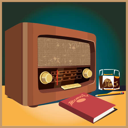 old radio: Stylized vector illustration on a retro theme. old radio, a glass of whiskey and a book.