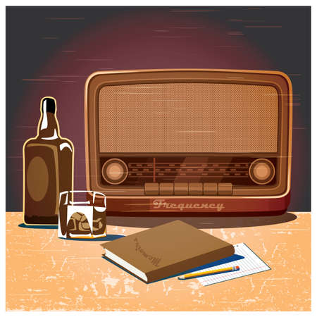 scuff: Stylized vector illustration on a retro theme. old radio, a glass of whiskey and a book.