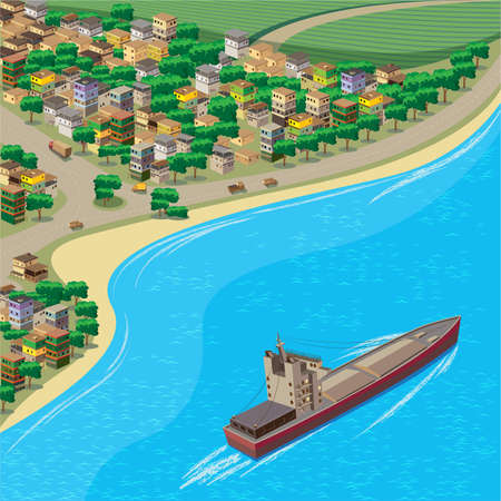 gold coast: stylized vector illustration of the town and the coast from the birds flight