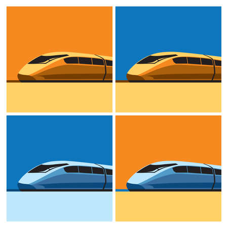 high speed rail: Stylized vector illustration on the theme of high-speed trains and modern rail transport