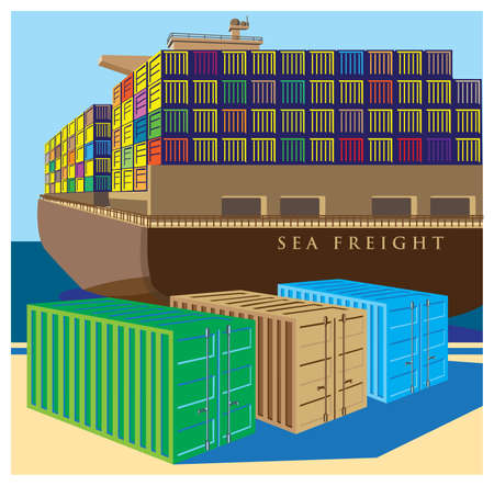 cargo container: Stylized vector illustration on the theme of marine transportation and logistics