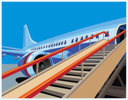 Gestileerde vector illustratie op het thema van de burgerluchtvaart. Moderne jet vliegtuig klaar om passagiers op te nemen. Stock Illustratie