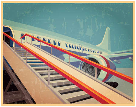 Vector illustration on the theme of civil aviation. jet civil aircraft in vintage style