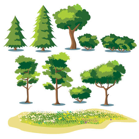 set of stylized vector plants. shrubs, trees and fields with grass and blooming flowers Çizim