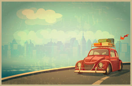 nostalgia: Stylized retro illustration on the theme of vacation travel out of town by car