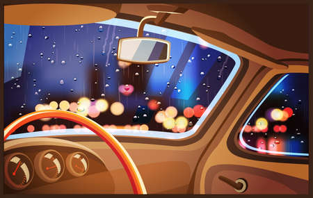 illustration interior of the car and night rainy city