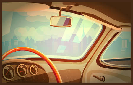 Stylized retro interior illustration of an old car with a view of the city Çizim