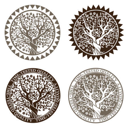 proven: Stylized vector illustration. symbol or stamp blossoming tree symbolizes prosperity and quality proven over the years Illustration