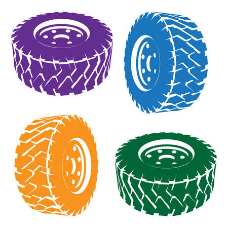 tire repair shop: stylized vector illustration of a car wheel Illustration