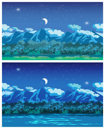 needed: Two stylized vector illustration of the jungle at night. seamless horizontally if needed.