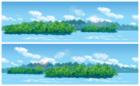 amazon rainforest: Two variants seamless horizontal illustration on the theme of nature, jungle, travel and adventure Illustration