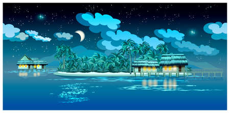 atoll: stylized vector illustration of tropical islands at night with bungalows, pier and beach. seamless horizontally if needed
