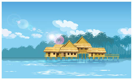 jungle: Stylized vector illustration of a village on a river in the jungle. seamless horizontally if needed.