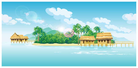 needed: stylized vector illustration of tropical islands with bungalows, pier and beach. seamless horizontally if needed Illustration