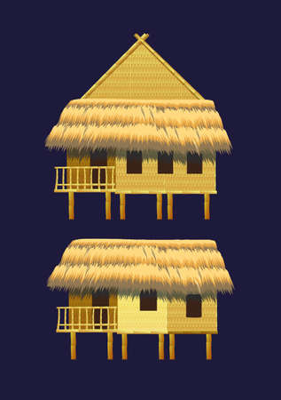 hut: A set of bungalows and buildings made of bamboo
