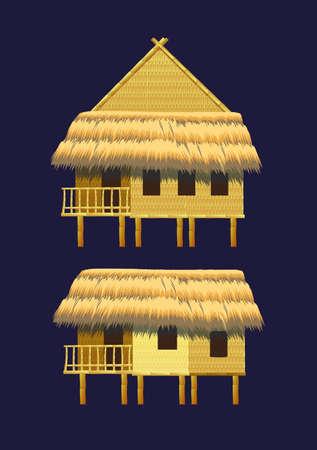 Een set van bungalows en gebouwen gemaakt van bamboe