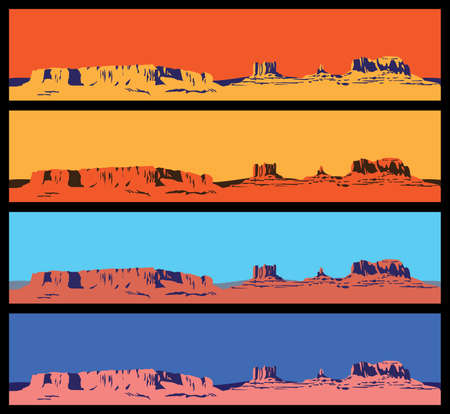 arizona sunset: Stylized vector illustration on the theme of the Wild West, the great canyon, mountains and deserts. seamless horizontally if needed Illustration