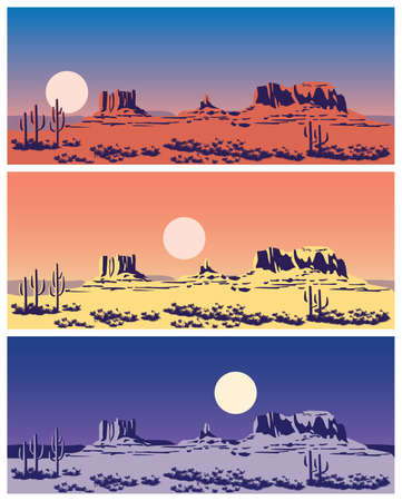 grand canyon: Stylized vector illustration on the theme of the Wild West, the great canyon, mountains and deserts. seamless horizontally if needed Illustration